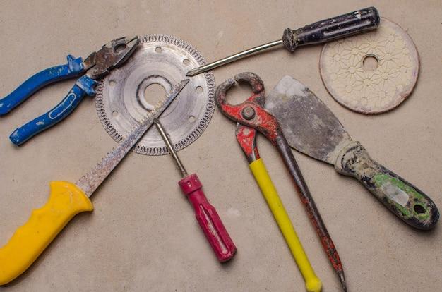 Construction equipment on concrete surface