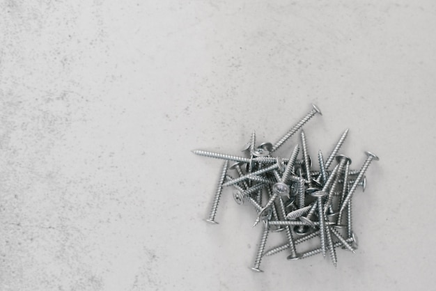 Construction fasteners, screws on a light gray background. copy space