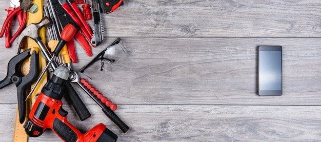 Construction hand tools flat lay