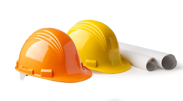Construction helmet isolated on white background, engineer safety concept.