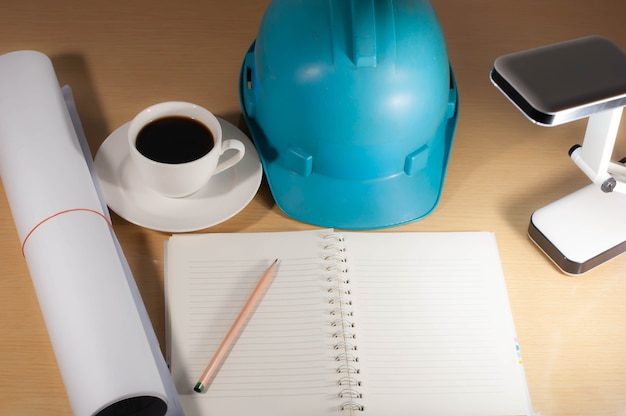 Construction helmets, coffee, desk top anytime, anywhere.