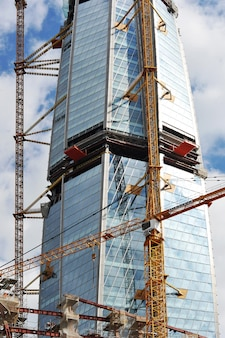 Construction of highwithrise building of the lakhta center, gazprom in saint petersburg