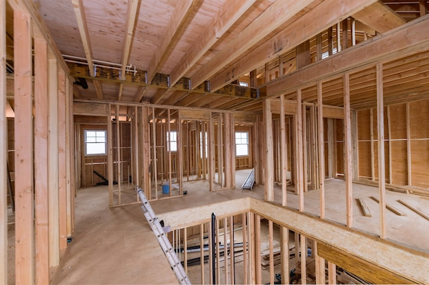 Under construction home framing interior view of a house