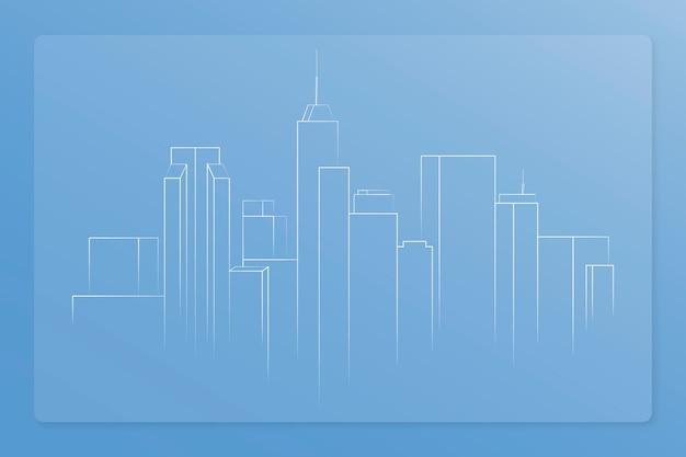 街のスカイラインの建設イラスト