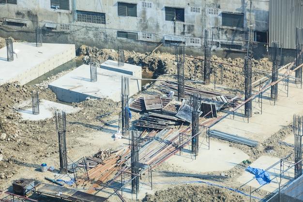 Construction industry, concrete building construction site.