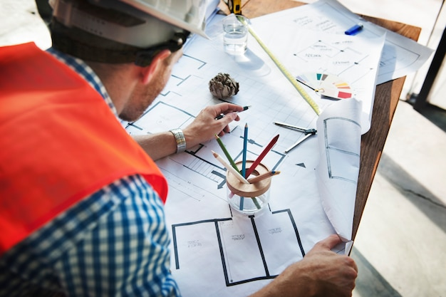 Construction interior blueprint plan designing concept
