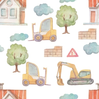 Construction machines watercolor illustration by hand