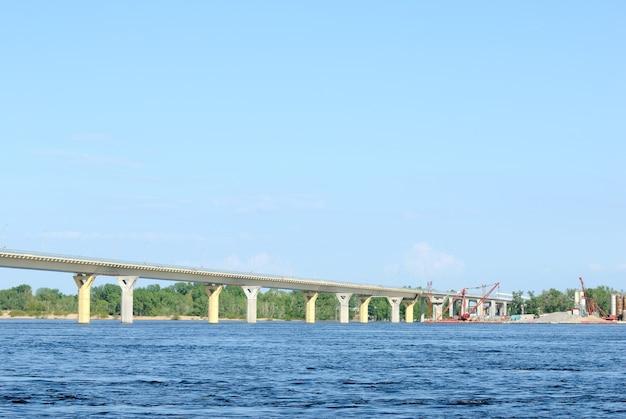 Construction of a new bridge over the river volga, russia