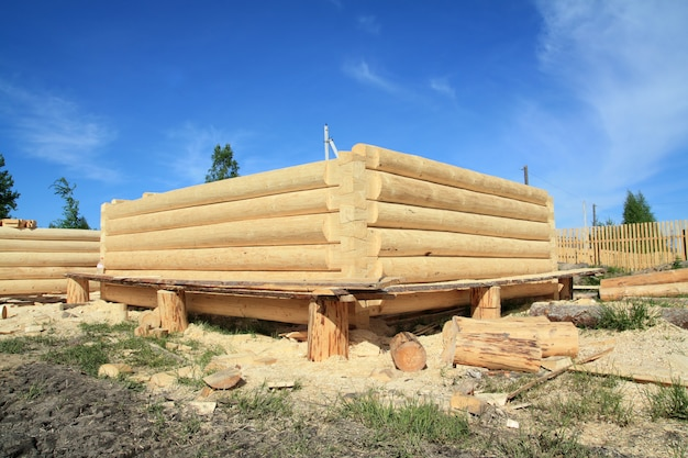 Construction of the new wooden building
