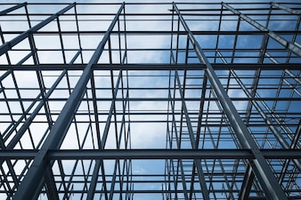 Construction of building steel structure.