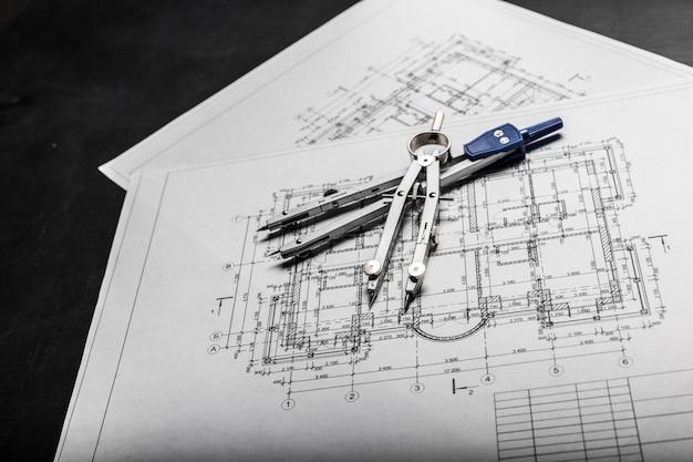 Чертежи планирования строительства на черном