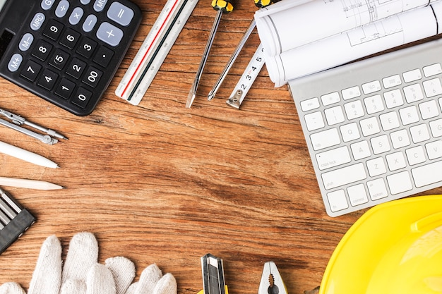 Construction planning with construction drawings and accessories