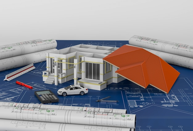 Construction plans with drawing tools and house. 3d render