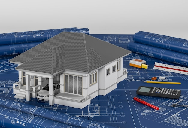 Construction plans with drawing tools and house. 3drender