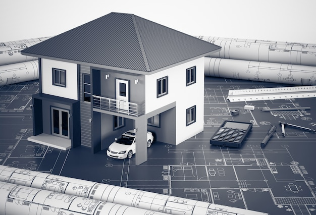 Construction plans with drawing tools and house, architectural and engineering concept.
