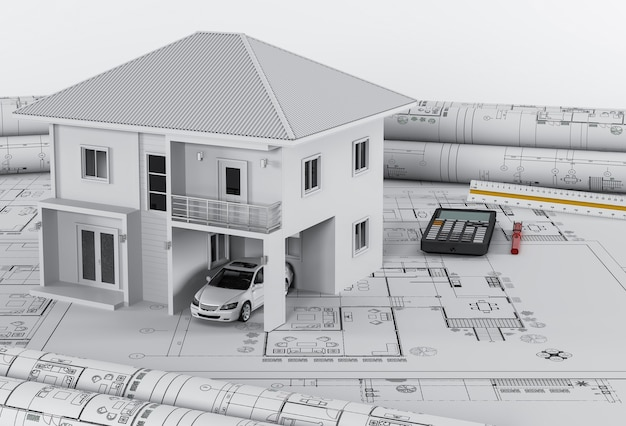 Construction plans with drawing tools and house, architectural housing concept.