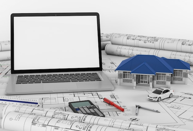Construction plans with laptop and house. 3d render