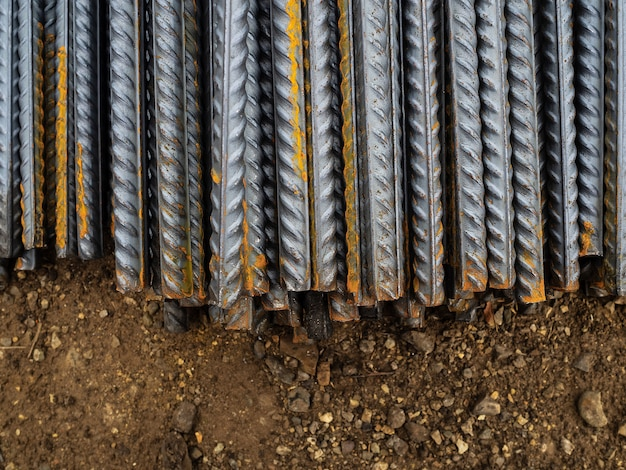 Construction rods of steel. used to strengthen concrete structures