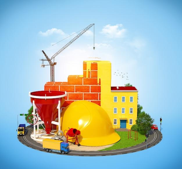 建物と黄色いヘルメットのある建設現場
