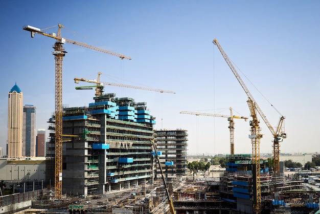 Construction site with cranes in dubai