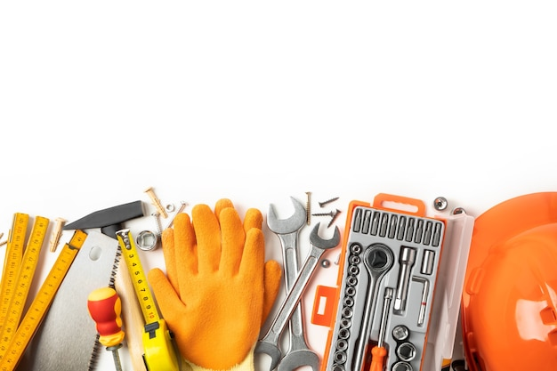 Construction tools on table, space for text
