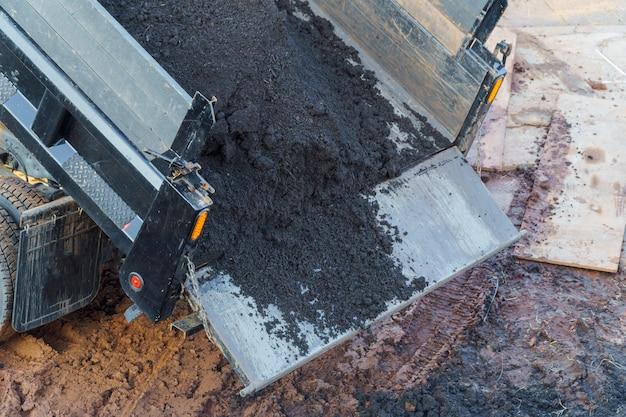 Construction. to unload a truck dump truck