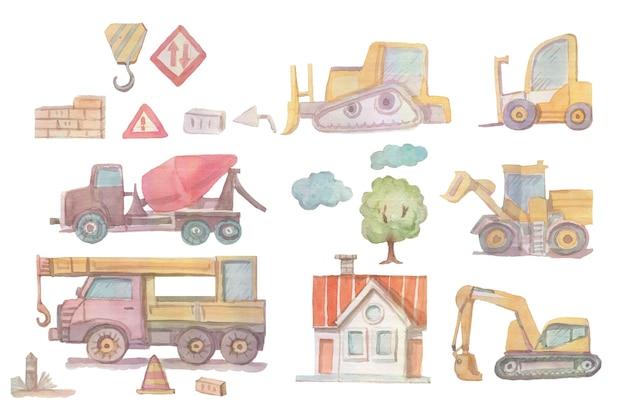 Construction vehicles construction handdrawn watercolor