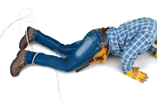 Construction worker , carpenter on the floor