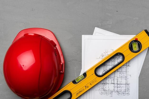 건설 노동자 안전모, 청사진 및 .construction 수준, 평면도
