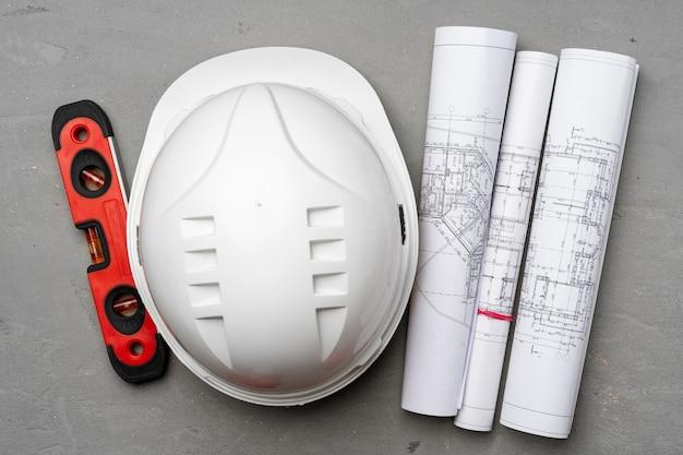 건설 노동자 안전모, 청사진 및 .construction 수준
