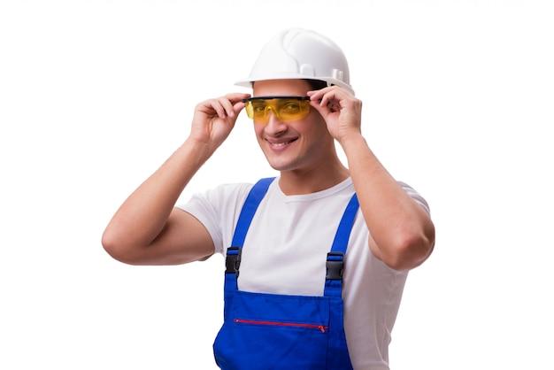 Строительный рабочий, изолированный на белом