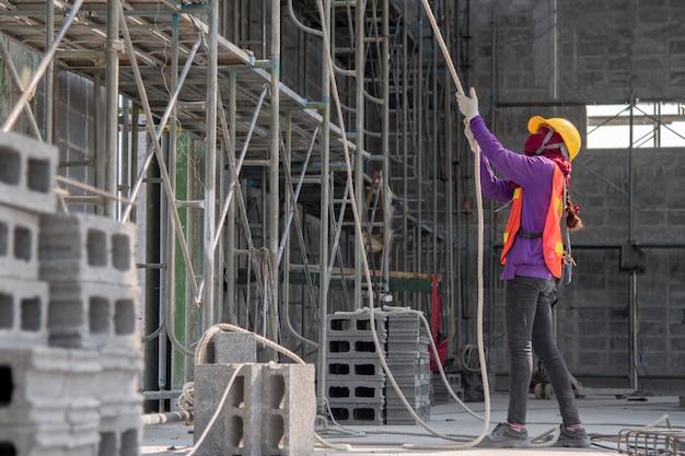 Construction worker masonry work