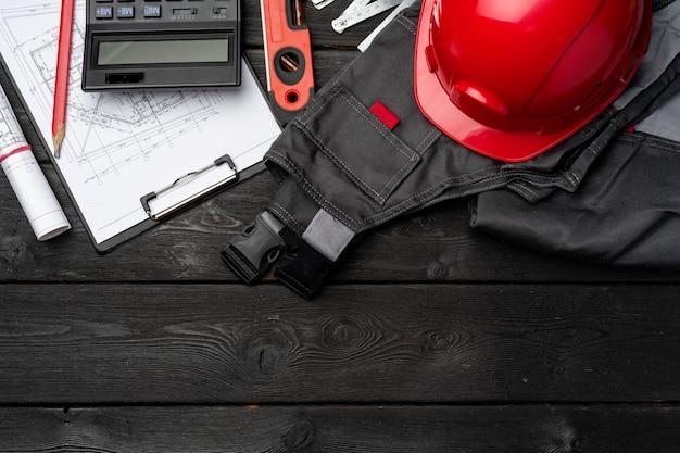 건설 노동자 unifrom, 안전모 및 청사진 나무, 평면도
