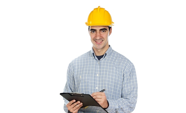 Construction worker on a over white background