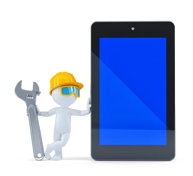 空白の画面のタブレットを持つ建設労働者。白い背景で隔離