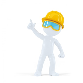 Construction worker with helmet pointing at object