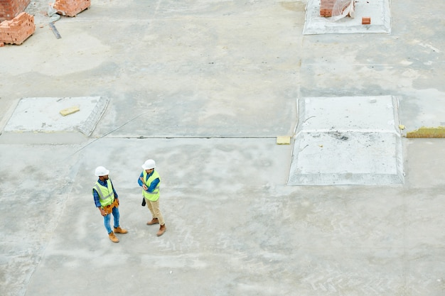 Construction workers  on site above view
