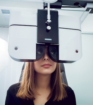Consultation with an ophthalmologist. medical equipment. coreometry.