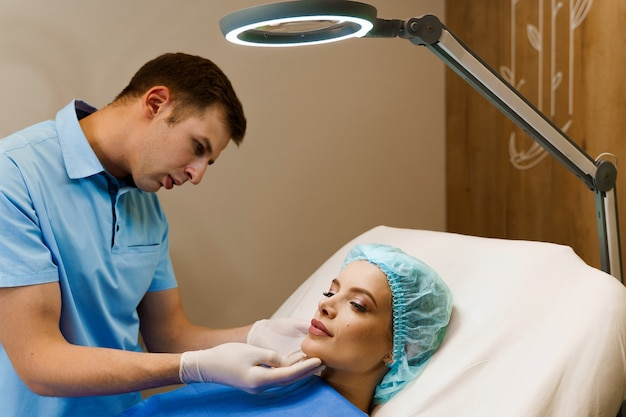 Consultation with plastic surgeon in medical center