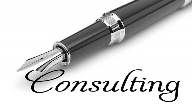 Consulting word handwritten with fountain pen
