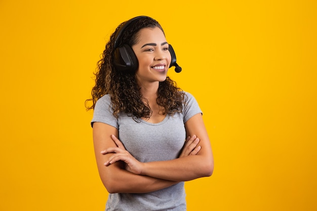 Contact the call center service. customer support, female sales agent. caller or operator attendant with arms crossed