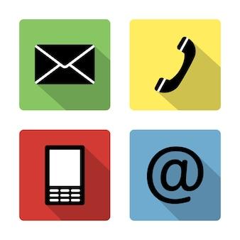 連絡先アイコンボタンセット-封筒、携帯電話、電話、メール