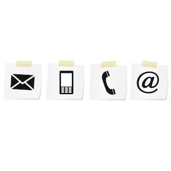 連絡先モノクロアイコンセット-封筒、携帯電話、電話、メール