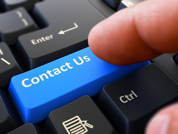 Contact us - written on blue keyboard key.