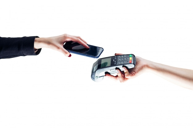 Contactless payment. isolated white