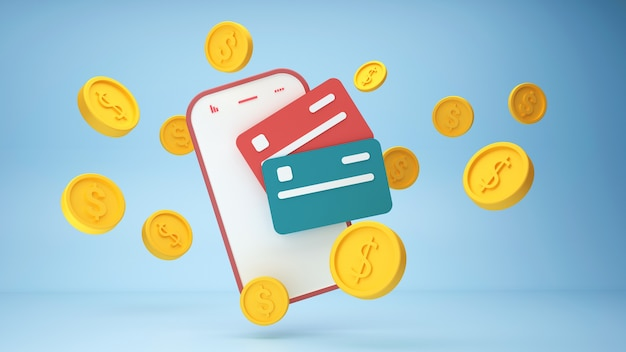 Бесконтактная оплата беспроводная оплата кредитной картой на смартфоне d рендеринг