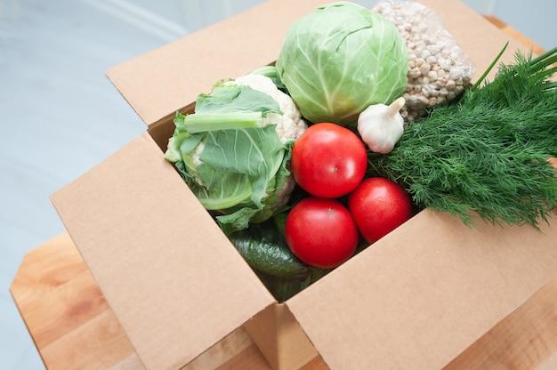 Бесконтактная доставка товара до двери. продовольственный пакет овощей, чтобы помочь больным или бедным.