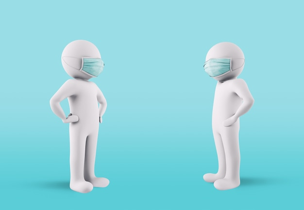 Contagion protection concept by maintaining social distancing and wearing face masks