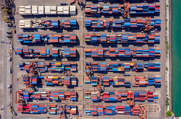 Container box storage and the seaport international aerial top view