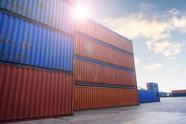 Container box unloading in sea port, warehouse of business logistic import and export freight transportation by container ship in harbor,transport trade international global shipping goods